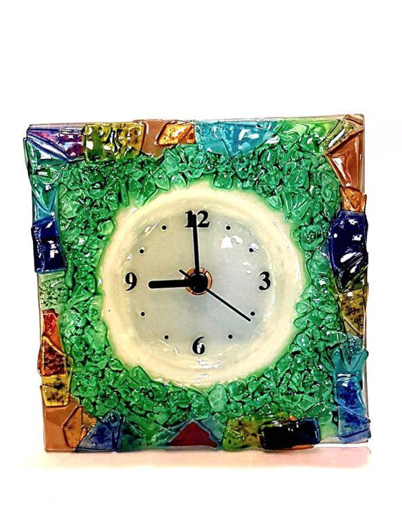 Orologio da tavolo quadrato in vetro di murano