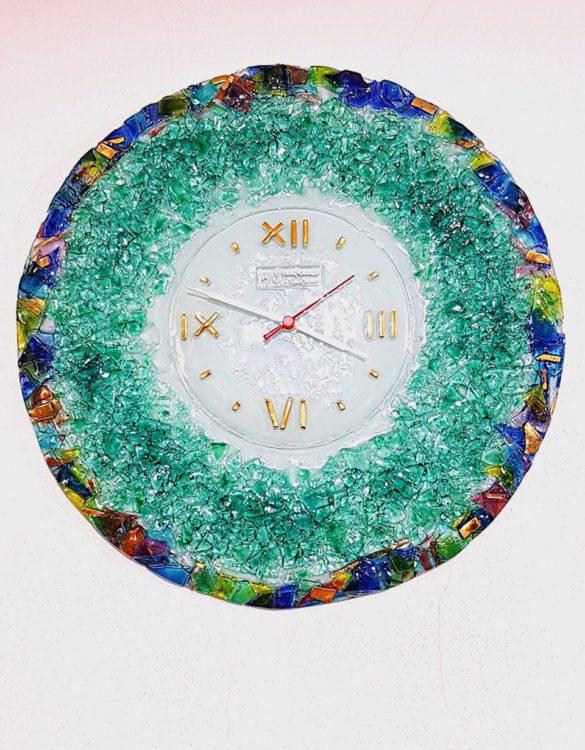 Orologio da parete verde rotondo vetro di murano