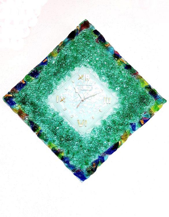 Orologio rombo vetro di murano verde