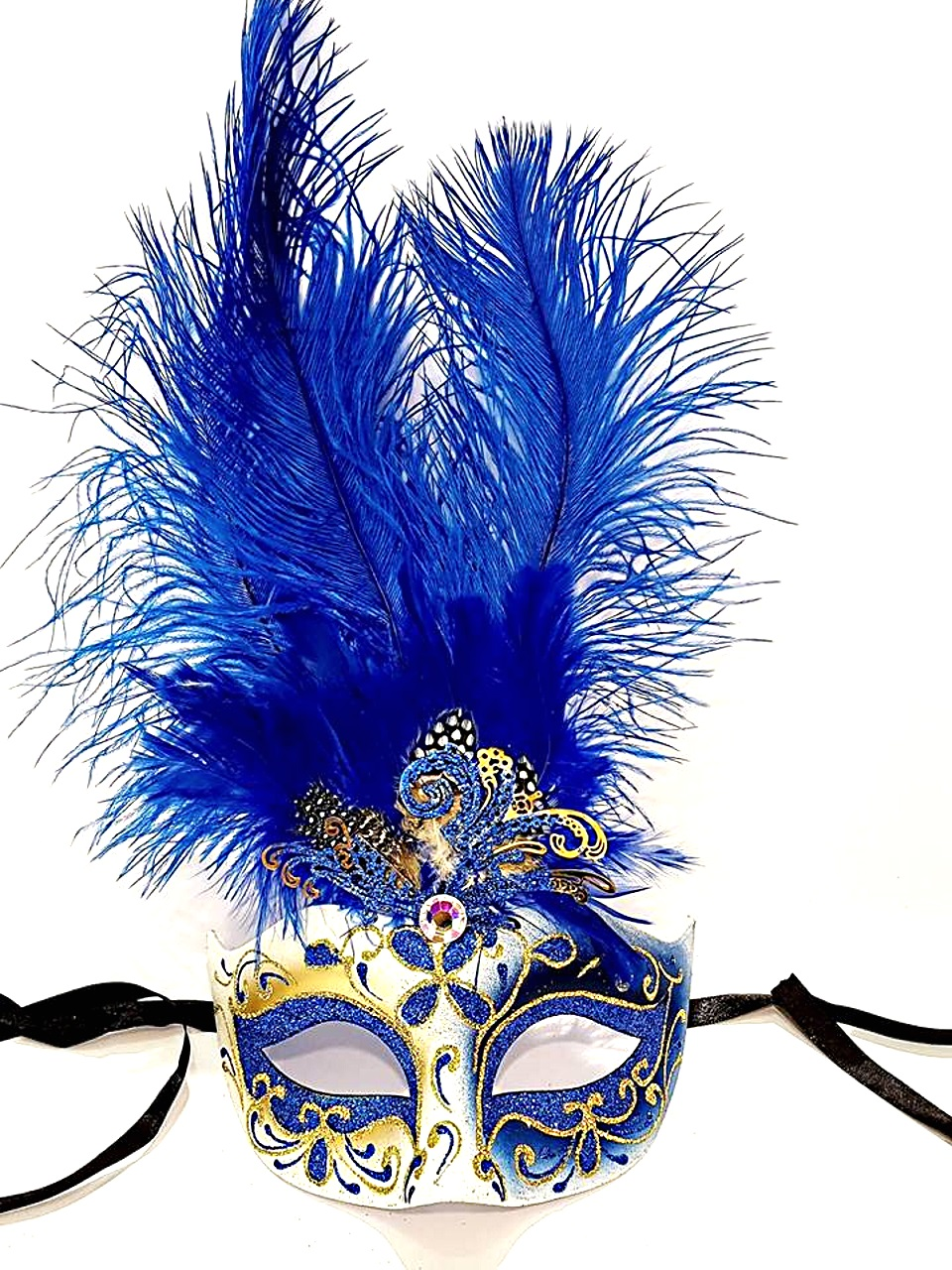 Maschera colombina con piuma