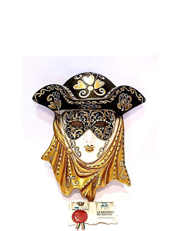 Maschera veneziana casanova dorata