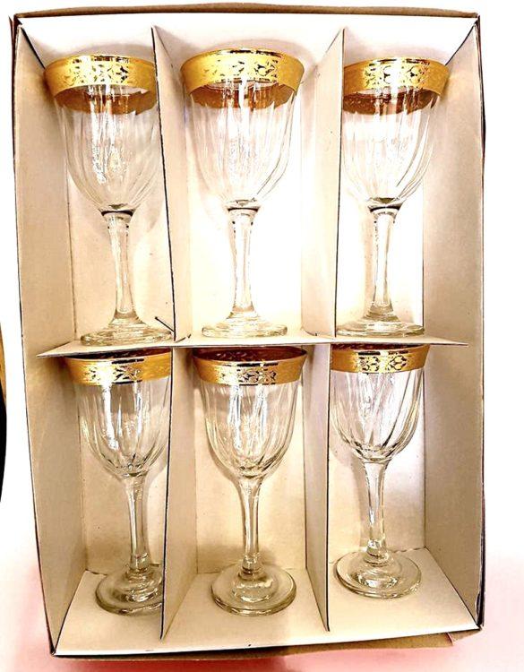 Bicchieri acqua bianchi con bordo oro confezione