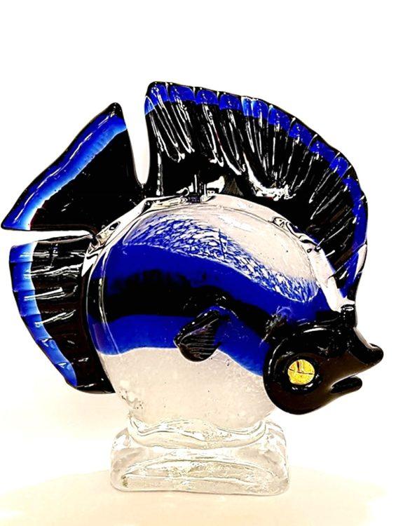Pesce tropicale blu vetro di murano